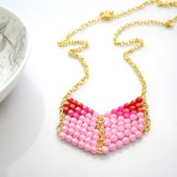 Easy Pink Chevron Necklace to Make with Acrylic Beads and Eyepins