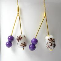 Pictures Instruction on Making Purple Jade Earrings with Beads