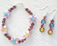 How to Make a Fun and Bright Flower Bracelet and Earring Set