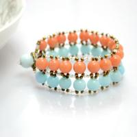 Make a Wide Cuff Bracelet with Jade Beads and Seed Beads Tutorial