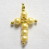 Pictures Tutorial on Making a Small Beaded Pearl Cross Pendant