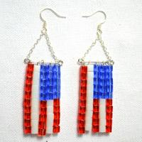 Easy Instruction on Making Beaded American Flag Earrings
