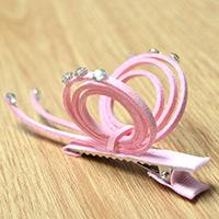 How to Make Sweet Pink Butterfly Hair Clips with Suede Cord and Rhinestones