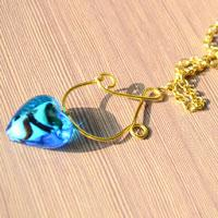 Make Blue Heart Pendant Necklaces with Beads and Wire