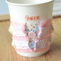 How to Make Personalized Felt Coffee Cup Sleeves with Beads and Lace