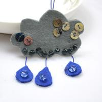 Making Cloud and Raindrop Bag Ornament with Felt and Beads