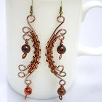 Wire Wrapping Half-Moon Shaped Earrings with Aluminum Wire and Agate Beads