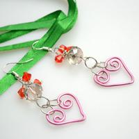 Valentine's Day jewelry project-how to make wire jewelry earrings with two dangling hearts