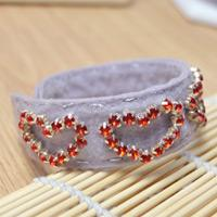 Learn to Make an Adjustable Felt Heart Cuff Bracelet with Red Rhinestones