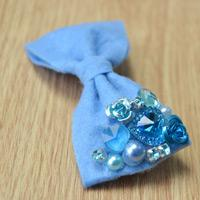 Make Royal Blue Felt Hair Bows with Kinds of Beads Step by Step