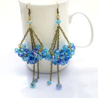 How to Make Dangle Cluster Earrings with Crystal Beads and Bronze Chain