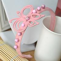 Easy Way to Make a Pink Butterfly Headband for Kids out of Felt and Suede Cord