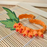 Unique Bracelet Ideas - Make a Felt Flower Bracelet in Pumpkin Color with Beads