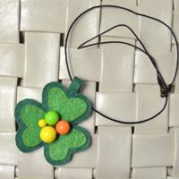 How to Make a Lovely Felt Clover Pendant Necklace with Bright Beads