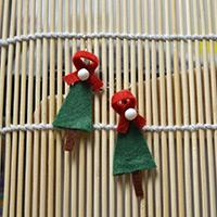 A Pattern of Green Christmas Tree Earrings Made from Felt and Beads