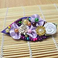 DIY a Leaf-Shaped Hair Clip with Colorful Beads and Small Ribbon Flowers