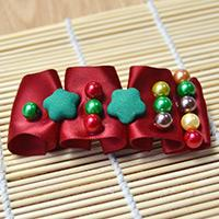Tutorial on Making a Folded Red Ribbon Hair Clip with Beads for Christmas