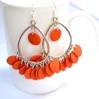 How to Make Your Own Fringe Drop Earrings with Orange Beads Step by Step