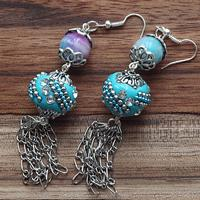 How to Make Exotic Indonesia Bead Earrings with Chain Tassels