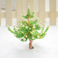 Deko Mini Tannenbaum von Glasperlen und Messing Draht