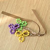 An Easy Way of Making a Beaded Pansy Flower Bracelet with Ribbon