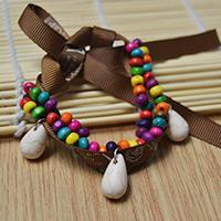 How to Make Ethnic Wood Bead Bracelets with Turquoise Pendants