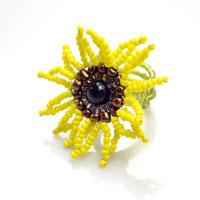 Instructions on Making Memory Wire Ring with a Seed Bead Sunflower