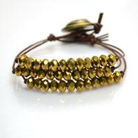 Patterns on Making a 3-strand Layered Bracelet with Gold Beads and Leather Cord