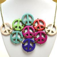 Instructions on Making a Chunky Turquoise Peace Sign Necklace for Women