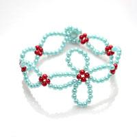 Free Bead Designs for Making a Woven Bracelet with Small-sized Glass Pearl Beads