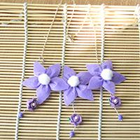 How to Make a Triple Violet Flowers Chain Necklace with Beads