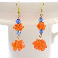 Free Patterns for Making Crystal Dangle Earrings with Basic Beading Technique
