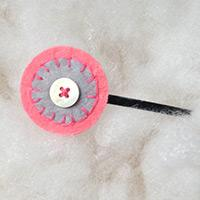 Easy to Make Round Felt Hair Clips with Simple Embroidery Design
