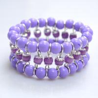 easy to learn instructions on making a delicate purple beaded cuff bracelet - Beaded Bracelet Design Ideas