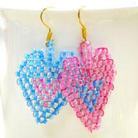 Free Beadwork Techniques on Making Heart-in-heart Brick Stitch Earrings