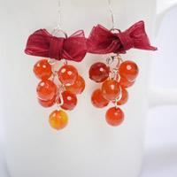 Beaded Grape Cluster and Ribbon Bowknot Earrings Tutorial