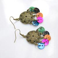 Make Vintage Dangle Earrings with Multi-Colored Shell Buttons