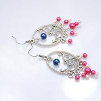 Tutorial on DIY Beaded Chandelier Earrings with Pink Pearls