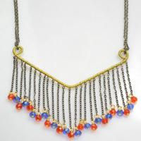 DIY Red and Blue Beaded Fringe Necklace with Simple Wire Coiling Technique