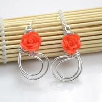 2 Steps to Make Rose Spray Earrings with Silvery Wire and Polymer Clay Beads