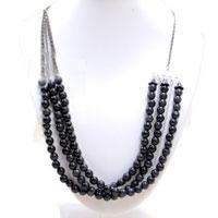 Make a Multi-strand Sweater Necklace with Black Glass Beads and Chains