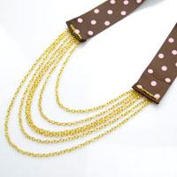 Instructions on Making a Long Chain and Ribbon Necklace at Home
