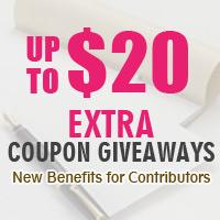 New Benifits for Contributors- Extra Coupons Giveaways by Submitting Articles