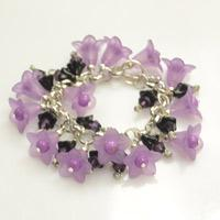 Create Morning Glory Charm Bracelet with Violet Flower Beads and Purple Bicones