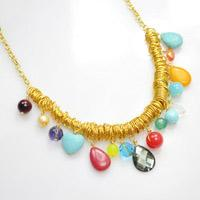 Tutorial on Making a Shiny Charm Necklace with Jump Rings and Rainbow Briolettes