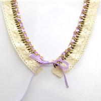 Make Your Own V-shape Shirt Collar Necklace out of Lace, Ribbon and Chain