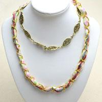Instructions on Making a Nifty Multi Strand Necklace with Fabric and Chains
