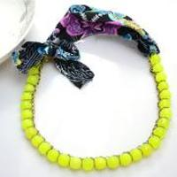Redesign Jewelry Idea - How to Make a Summer Beaded Chain Necklace with Fabric