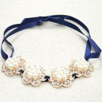 Easy Tutorial on Making Necklaces with Navy Blue Satin Ribbon and Acrylic Rhinestone Beads