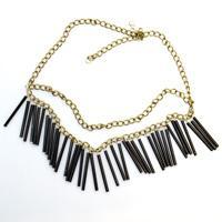 Free Bead Necklace Patterns- Making Black Fringe Necklace with Bugle Beads